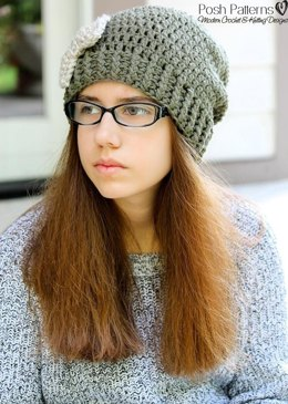 Slouchy Hat and Bow Crochet Pattern 381