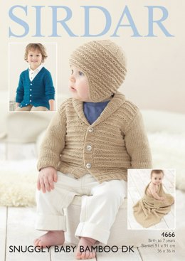 Cardigans, Hat and Blanket in Sirdar Snuggly Baby Bamboo DK - 4666- Downloadable PDF