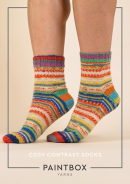 Cosy Contrast Socks in Paintbox Yarns Socks - Downloadable PDF