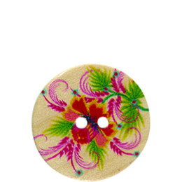 Hibiscus Flower Wood 20mm 2-Hole Button