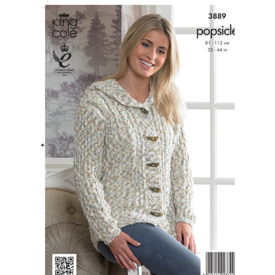 Ladies' Cable Sweater and Cardigan in King Cole Popsicle - 3889