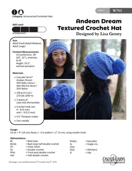 Textured Crochet Hat in Cascade Yarns Andean Dream - W793 - Downloadable PDF