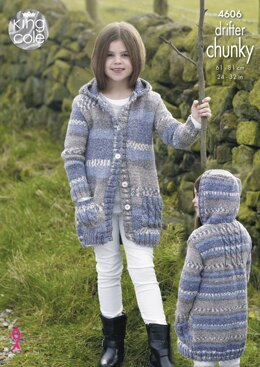 Girls' Coats in King Cole Drifter Chunky - 4606 - Downloadable PDF