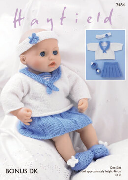 Baby Dolls Sailor Top, Skirt, Pants, Shoes & Headband in Hayfield Bonus DK - 2484 - Downloadable PDF
