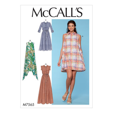McCall's Misses' Shirtdresses with Sleeve Options, and Belt M7565 - Sewing Pattern