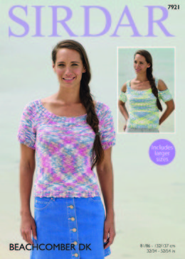 Cut Out and Short Sleeved Tops in Sirdar Beachkomber DK - 7921 - Leaflet
