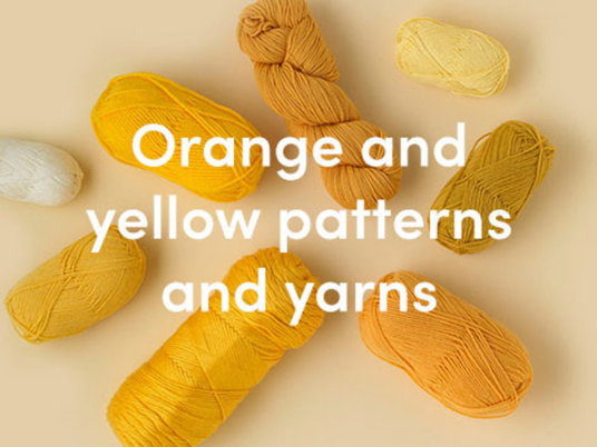 Orange and yellow knitting patterns and yarns
