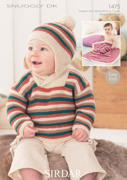 Boy's Sweater, Helmet and Blanket in Sirdar Snuggly DK - 1475