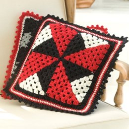 Pinwheel Pillow in Red Heart Super Saver Economy Solids - LW2128