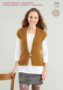 Women's Waistcoat in Hayfield Super Chunky with Wool - 7056 - Downloadable PDF