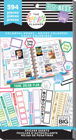 Me & My Big Ideas Happy Planner Sticker Value Pack - Colorful Boxes, 594/Pkg