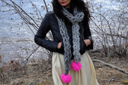 The Pom Pom Scarf in Loopy Mango Big Loop