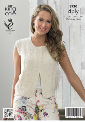 Ladies' Cardigan and Waistcoat in King Cole Bamboo Cotton 4 Ply - 3920