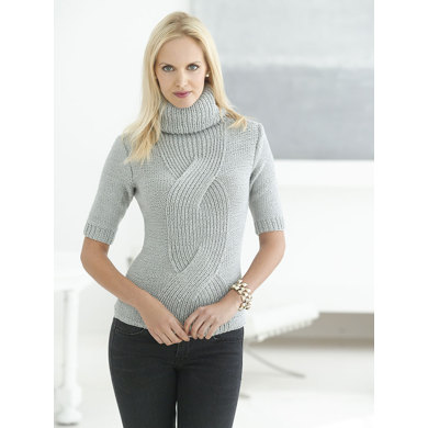 Fitted Cable Pullover in Lion Brand Vanna's Glamour - L32179