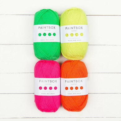 Paintbox Yarns Wool Mix Aran 4 Ball Neon Color Pack