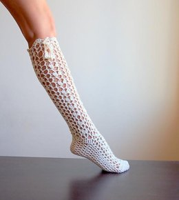 Knee high lace socks slippers