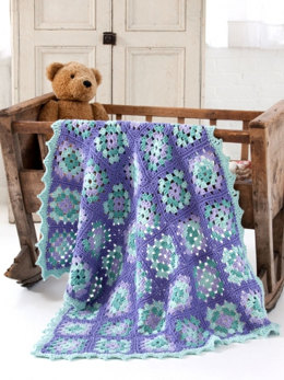 Lullaby Granny Square Baby Blanket in Caron One Pound - Downloadable PDF
