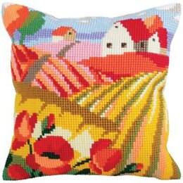 Collection D'Art Poppy Field II Cross Stitch Cushion Kit - 40cm x 40cm