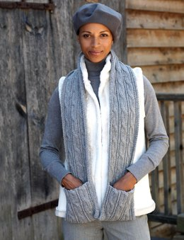Cabled Scarf with Pockets in Patons Classic Wool Worsted