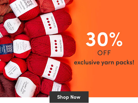 30 percent off exclusive yarn packs!