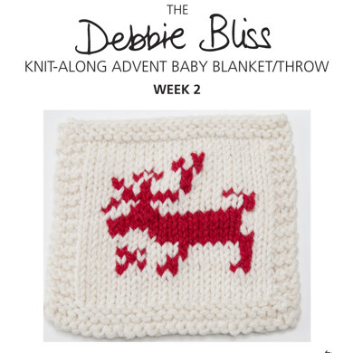 """Knit-Along Advent Baby Blanket Week 2"" : Blanket Knitting Pattern for Babies in Debbie Bliss DK 