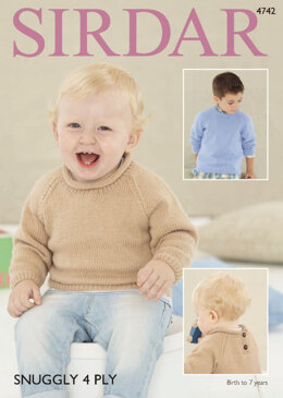 Roll Neck and Round Neck Sweaters in Sirdar Snuggly 4 Ply - 4742 - Downloadable PDF