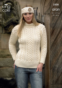 Sweater, Cardigan and Headband in King Cole Aran - 3508