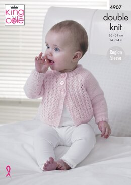 Baby Raglan Cardigans in King Cole Baby Pure DK - 4907 - Downloadable PDF