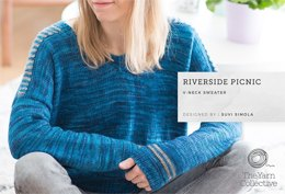 """Riverside Picnic Sweater by Suvi Simola"" - Sweater Knitting Pattern For Women in The Yarn Collective"
