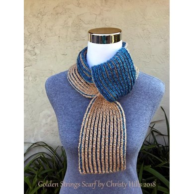 Golden Strings Scarf Keyhole Ascot Pull Through Vintage