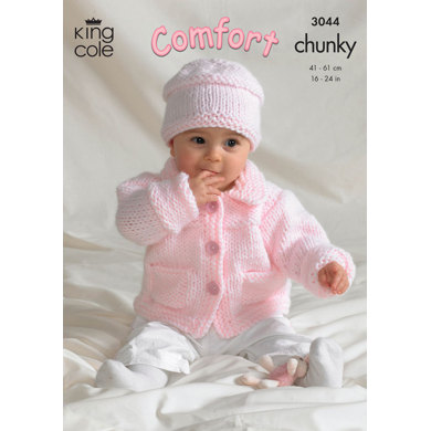 Jacket, Sweater, Crossover Cardigan and Hat in King Cole Comfort Chunky - 3044