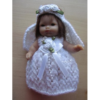 "5"" Berenguer Doll Bridal Outfit"