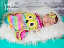 Ava the Owl Baby Hat, Cocoon or Sleeping Bag and Headband, Crochet PDF Pattern