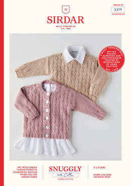 Babies Sweater & Cardigan in Sirdar Snuggly 100% Cotton DK - 5379 - Leaflet