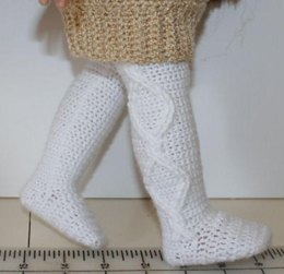 """Crochet cable tights for 18"""" dolls"""
