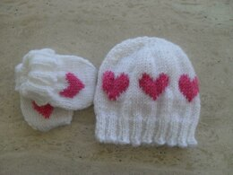 Baby Hat And Mittens Love Heart