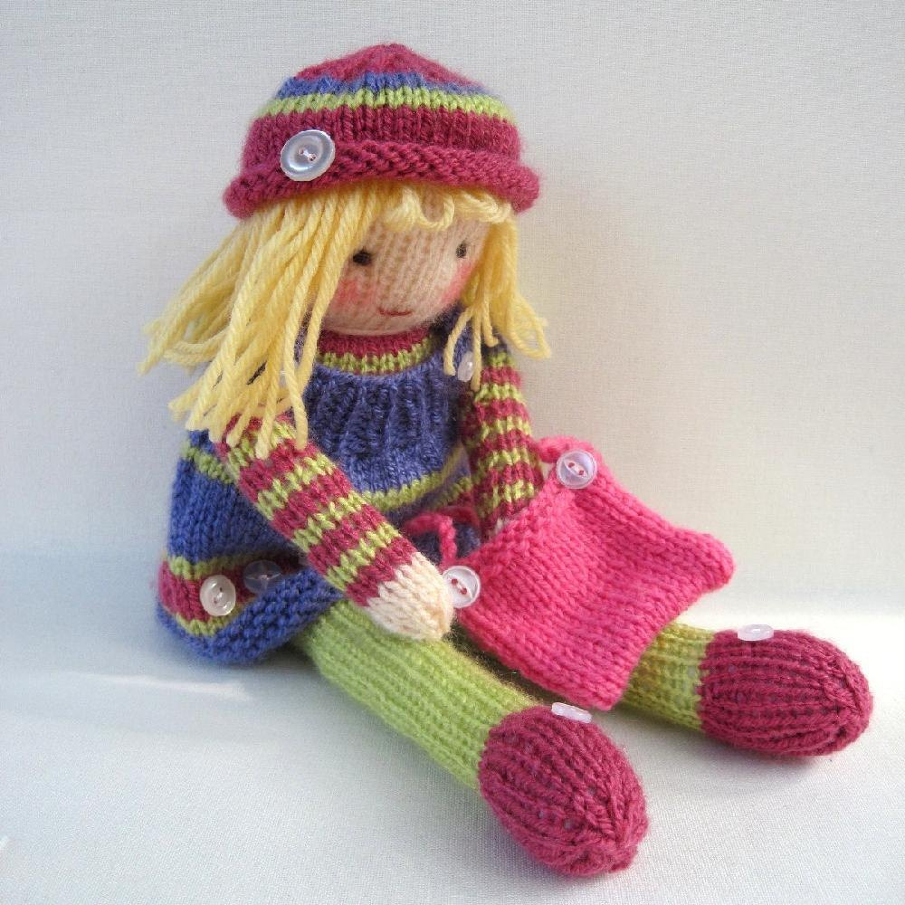 Knitting Pattern Large Rag Doll : Betsy Button - knitted doll Knitting pattern by Toyshelf ...