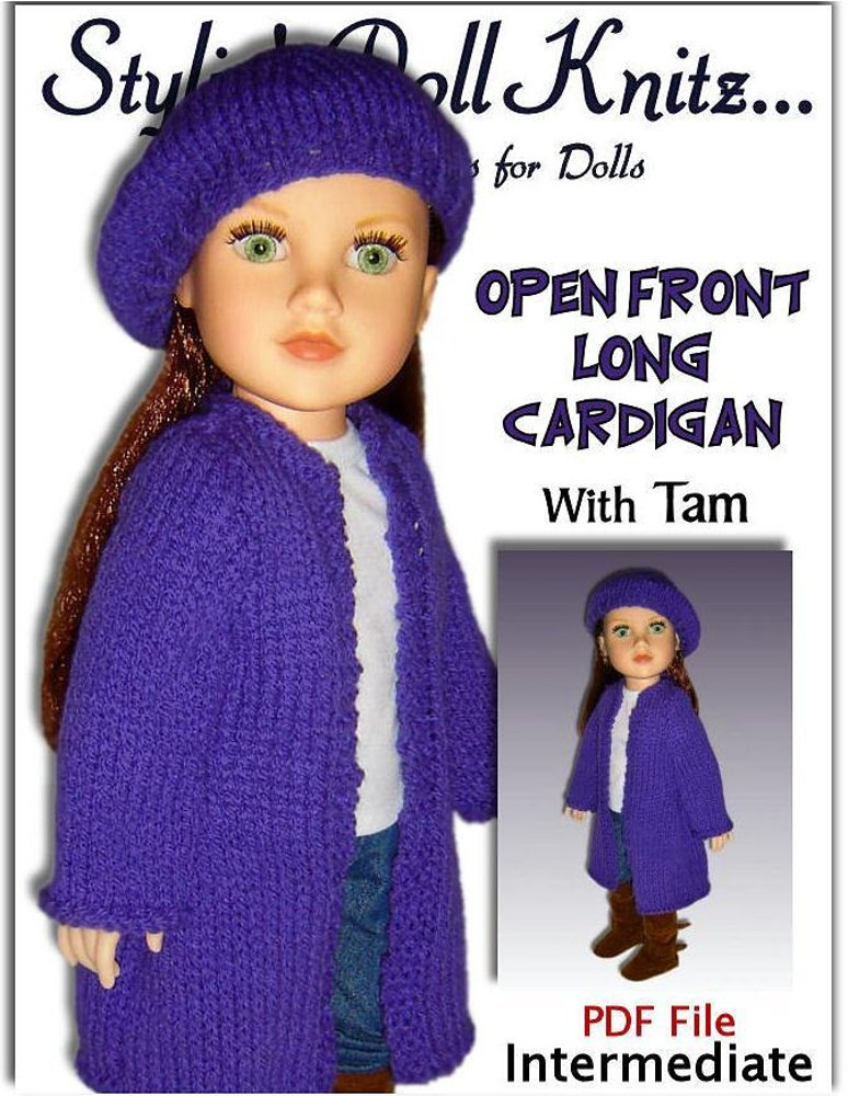 Doll clothes, Long Cardigan Knitting pattern for 18 inch dolls ...