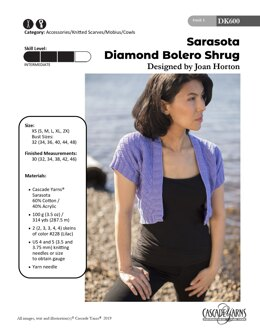 Diamond Bolero Shrug in Cascade Yarns Sarasota - DK600 - Downloadable PDF