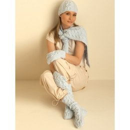 Cable Hat, Mittens, Scarf and Socks in Bernat Super Value