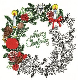 Design Works Zenbroidery Merry Christmas Wreath Cotton Fabric