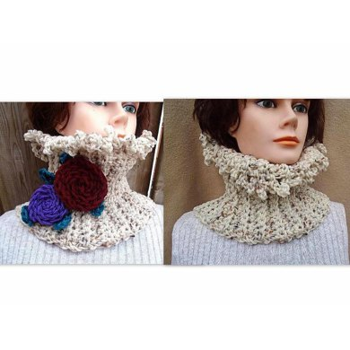739 Ruffled Crochet Cowl and Flower Cluster