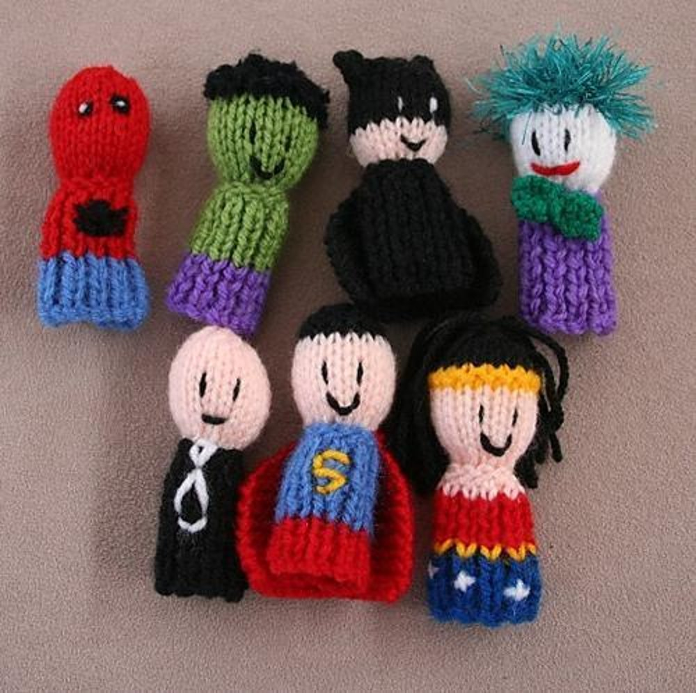 7 Superhero finger friends Finger Puppets Knitting pattern by Amalia ...