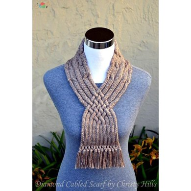 Diamond Cabled Scarf Cowl Stay On Celtic Cable Scarf Knitting