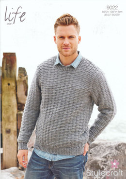 Mens' Round Neck Sweater in Stylecraft Life Aran - 9022