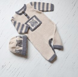 Lil Hoot, Onesie / romper with matching hat P084