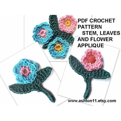 Leaf Stem and Flower Applique - Crochet Pattern  by Ashton11