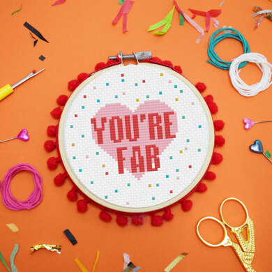 Exclusive to Lovecrafts: The Make Arcade Midi Cross Stitch Kit - You're Fab - 4in