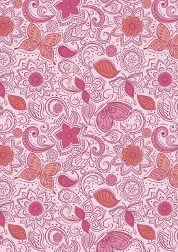 Lewis & Irene Sew Mindful Floral Flow on Peaceful Pink Cut to Length