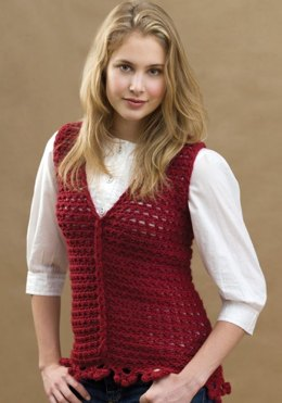 Crochet Loop-Cable Vest in Red Heart Soft - LW1604